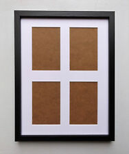 Deep  Photo Frame with White Mount - 4 @ 6x4 Apertures in Black Woodgrain Finish