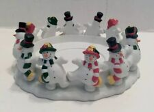 Party Lite Frolicking Snowman 3 Wick Candle Ring Holder Snowman