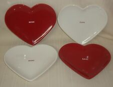 Pottery Barn Valentine Heart Love Red & White Plates , Lot of 4