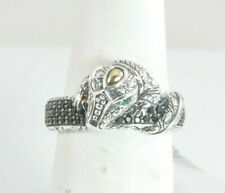 Jai John Hardy Sterling Silver & 14k Croco Pave Black Spinel Band Ring - Size 7