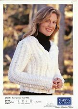 Quick Knit V-Neck Sweater - Marks & Kattens Knitting Pattern #02085 Women 36-45""