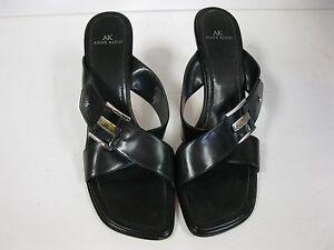 Anne Klein black high heel sandal, size 10M strap shoes