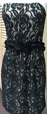 SUZI CHIN for Maggy Boutique Strapless Black Lace Overlay Dress LBD Sz 6 Medium