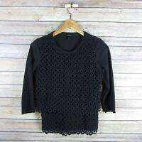 J.CREW Women's Soft 3/4 Sleeve Crew Neck Circle Lace Top XS Extra Small Black