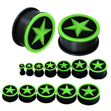 GREEN STAR BLACK Silicone Ear Plugs Stretchers Jewellery Piercing Tunnels PL77