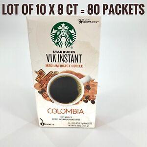 Lot of 10 8ct Starbucks VIA Instant Colombia Coffee Medium Roast BB 5/20/21 80pc