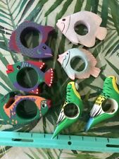 Coastal Napkin Ring Holders Tropical Fish BirdS Multi Colored Carved Wood 7