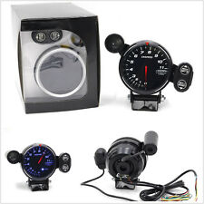 "1xUniversal 12V Tachometer Gauge 3.5"" Blue LED Auto Meter Stepping Motor RPM Kit"