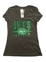 New York Jets NFL Heather Gray V-Neck T-Shirt NFL Team Apparel Womens Size S NWT