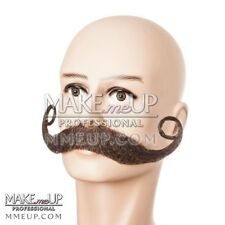 Hi-QUALITY French Handlebar Brown Mustache Hair Makeup stage Theatrical costume