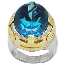 De Buman Two-tone Sterling Silver 23.19ctw Swiss Blue Topaz Ring, Size 7
