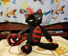 "Rare Emily the Strange Patch Works Approx 16"" Black Patch Red Cat Plush"