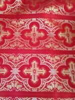 LITURGICAL JACQUARD BROCADE FABRIC RED-GOLD CROSS ALTAR DRESS BY YARD