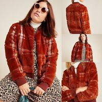 New $198 Anthropologie Plus Plaid Teddy Bomber Jacket Brown Rust Size 1X NWT