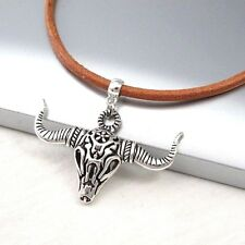 Silver Alloy Bull Longhorns Skull Pendant Light Brown Leather Choker Necklace