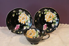 CHUGAI OCCUPIED JAPAN HAND PAINTED TEA CUP AND 2 SAUCERS BLACK WITH YELLOW ROSE