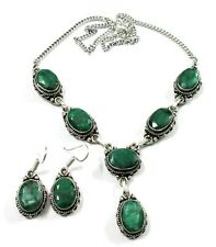 Beauteous! Natural Green Emerald Gemstone 925 Silver Plated Earring Necklace Set