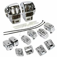 Chrome Switch Housing Cover & 10Pcs Caps for Harley FLTR FLHRC FLHR FLHTK 96-13