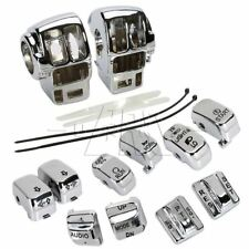 Set Chrome Switch Housing Cover & 10 Cap for Harley Electra Glide Road 1996-2013