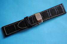 Cinturino orologio con A farfalla Chiusure pieghevoli 24mm nero Croco Goffratura