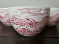 """WEDGWOOD Romantic England Queen's Ware 4"""" Rice/Sugar Bowl Red on White"""