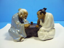 """VINTAGE SHIWAN MUDMAN FIGURINE GO MAHJONG CHESS PLAYERS 5.5""""LONG x 3.5""""TALL"""