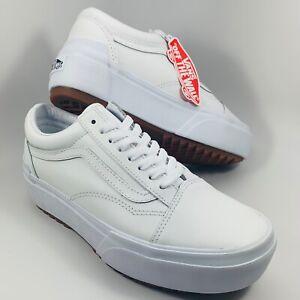 VANS Old Skool Stacked Leather Sneaker True White Women's 10 NEW VN0A4U15OER