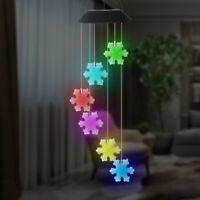Color-Changing Outdoor LED Solar Powered Snowflakes Wind Chime Light Yard Decor