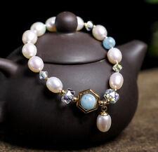 T03 Bracelet Freshwater Pearls Blue Larimar Zirconia Gold Plated