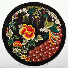 FINISHED CHINESE VINTAGE QUILT FABRIC EMBROIDERY PANEL PAINTING: PEACOCK =