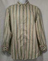 Robert Graham Mens Button Front Shirt Large Striped Flip Cuffs A526