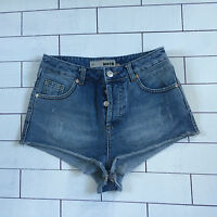 WOMENS TOPSHOP STONEWASH HIGH WAISTED URBAN VINTAGE SHORTS HOTPANTS SIZE UK 8