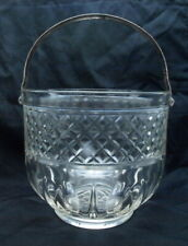 VINTAGE DIAMOND PATTER CUT GLASS ICE BUCKET W/METAL HANDLE  & PLASTIC TONGS