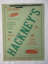 Hackneys Menu & Wine List Boardwalk Atlantic City  New Jersey 1949