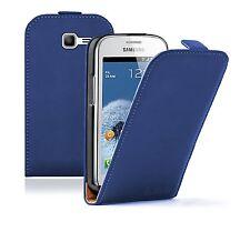 ULTRA Slim Blu Pelle Custodia Cover Pouch per Galaxy fresh GT-S7392 DUOS +2 PELLICOLE