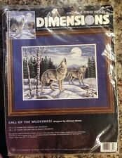 1997 VTG Dimensions Counted Cross Stitch CALL OF THE WILDERNESS 14X10 Wolves NEW