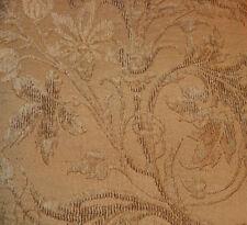 Dark Beige Flower Print Cut Chenille Upholstery Fabric 1 Yard 219
