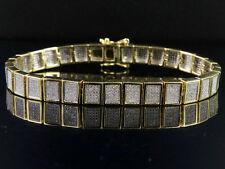 Hombre 10k Oro Amarillo Diamante Original Helado Cuadrado Pulsera de Eslabones 2