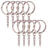 10pcs Silver DIY 25mm Keyring Keychain Split Ring Short Chain Rk1n Key Rings