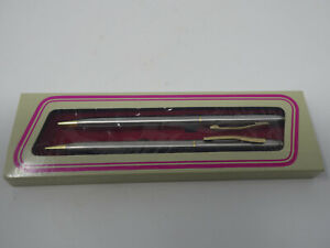 SILVER/GOLD TONE METAL MECHANICAL PENCIL & BALLPOINT PEN SET IN BOX