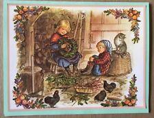 FINE Tasha Tudor Vintage Irene Dash Co Christmas Refurbished Card Kids Cat Barn