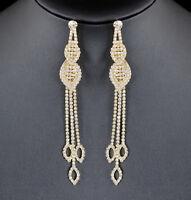 Dangle Leaves Long Austrian Crystal Rhinestone Chandelier Dangle Earrings E132g