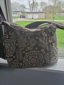 31 thirty one Free To Be Crossbody shoulder Bag Purse Brown Floral.