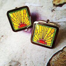 Unique ART DECO SUNRISE CUFFLINKS sunrise SUNSET vintage DESIGNER wedding SUIT