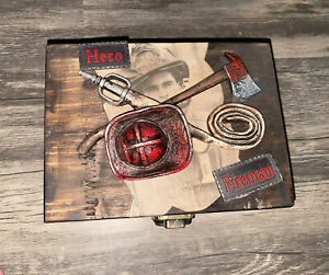 Hobby Lobby Wooden Fireman Hero Treasure Chest Trinket Art Bin 5.1/2 X 7.1/2 In
