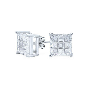 Invisible Cut Square Princess Cut CZ Stud Earrings Sterling Silver