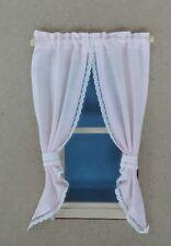 "Blue Toile Dollhouse Single Size Curtains 3 /"" W"