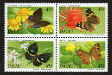 PALAU, SCOTT # 242-245, BLOCK OF BUTTERFLIES FLOWERS & PLANTS, MINT NEVER HINGED