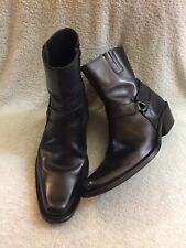 Vero Cuoio Leather Zipper Black Western Ankle Boots Made In Italy Size 42-9/9.5