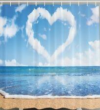 Love In Air Fabric SHOWER CURTAIN Heart Cloud Beach Ocean Sand Wave Bath Decor